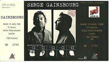 RARE / TICKET DE CONCERT - SERGE GAINSBOURG : LIVE A LAVAL 1988 / COMME NEUF