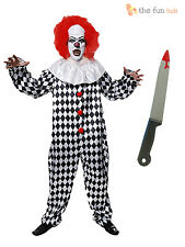Adult Mens Scary Clown Costume + Wig Circus Horror Fancy Dress Halloween M L XL