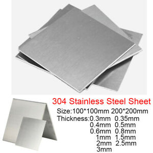 100*100mm 200*200mm 304 Stainless Steel Sheet Metal Plate Thick 0.3 0.4 0.5-3mm