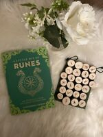 Birch Wooden Runes (Handmade, Elder Futhark) with Rune Book (New)