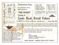 """""""TRUE MARKET"""" COMIC BOOK RETAIL VALUES 1973-1974 vintage pre-publication flyer"""