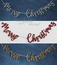WOODEN MERRY CHRISTMAS GLITTER BUNTING - Xmas Garland / Banner / Decoration