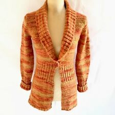 Bandolino Women Size S One Button Cardigan Orange Ombré Wool Blend Sweater