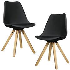 [en.casa] 2x Chaises de salle à manger de design noir bois plastique similicuir