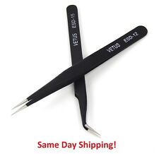 VETUS 2 PCS EYELASH EXTENSION TWEEZERS STRAIGHT & CURVED BLACK ANTI MAGNETIC