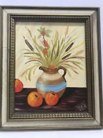 "Original Acrylic Painting Fruit Flower Bouquet Signed Te Marie 15""x19.5"""