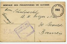 AUSTRALIA WWI Printed Formula POW/ FREE cover from Liverpool NSW - ex-sms Emden?