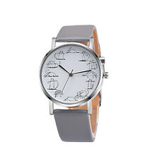 Cartoon Women's Leather Analog Quartz Wrist Watch Stainless Steel Watches