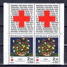 FRANCE PAIRE TIMBRE CROIX ROUGE AVEC VIGNETTE 2345 ** CORBEILLE DE CALY - 1984