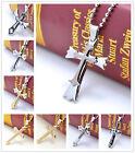 New Gift Unisex's Men Rhinestone Silver Stainless Steel Cross Pendant Necklace