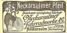 NSU Neckarsulmer Pfeil Fahrradwerke Neckarsulm Originalwerbung Inserat von 1898