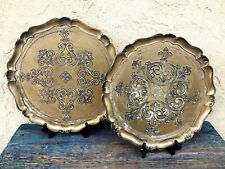 VINTAGE FLORENTINE CARVED TRAY, SET OF 2, DISTRESSED ANTIQUE GOLD COLOR, ITALY
