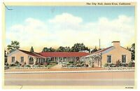 Santa Cruz California City Hall Vintage Postcard