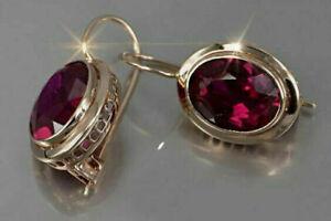925 Silver Ruby Ear Hook Drop Dangle Earrings Cubic Zirconia Wedding Jewelry