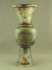 "5.2""WITH CARVED CHINESE JADE STATUE VASE WITH GOD FACE TOTEM"