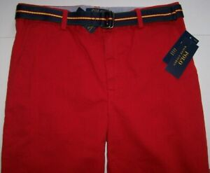 NWT Polo Ralph Lauren $55 SOLID RED Twill Chino Pants/Navy Belt 18 Boys STRETCH