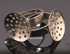 10 pcs Silver Plated Disc-shaped Base Adjustable Ring Findings