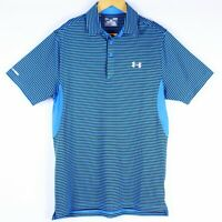 Under Armour Heat Gear Loose Small S ColdBlack Striped S/S Blue Polo Golf Shirt