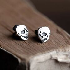 Men Women Jewelry Punk Rock Skull Solid 925 Sterling Silver Stud Earrings LE105