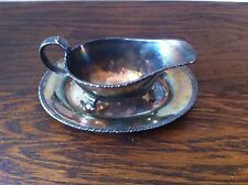 MINI GRAVY BOAT & UNDERPLATE VINTAGE ENGLISH REGAL A1 SILVERPLATE