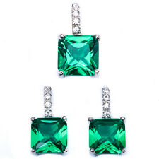 Princess Green Emerald & Cz .925 Sterling Silver Earring & Pendant Jewelry set