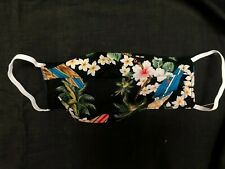 Hawaiian Flowers and Surfboards Face Mask Washable, Reversible, 2 Layer Cotton