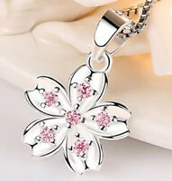 "925 Sterling Silver Women's Elegant Flower 20"" Chain Link Necklace wGiftPkg D677"