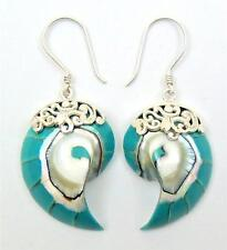 Turquoise Natural Nautilus Shell 925 Sterling Silver Dangle Earrings SE060-A