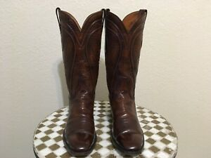 VINTAGE SAN ANTONIO USA LUCCHESE BROWN WESTERN COWBOY BOOTS 11 AA