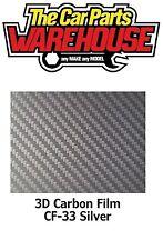 Silver Premium Quality Easyfit 3D Carbon Fibre Wrap Vinyl Bubble Free 30 x 100cm