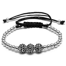 Silber Perlen Armreif Shamballa 3 Zirkonia Kugel Polyester Damen Herren Armband