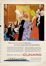 1960 Cunard PRINT AD RMS Queen Elizabeth & Mary Party on Cruise Ship Frame ad