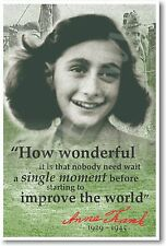 Anne Frank - How Wonderful It Is... NEW European HISTORY WWII Classroom POSTER
