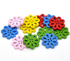 40 MIXED WOODEN FLOWER BUTTONS 20mm  Sewing~Knitting~jewellery~Cards~Craft (72A)