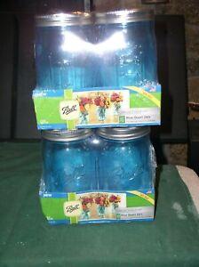 8-Ball Aqua Vintage Quart Mason Jars, Wide Mouth Elite Collection Jar 32Oz NIP