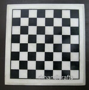 12 x 12 Inches Marble Chess Board Table Top Square Coffee Table for chess Lovers