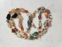 Vintage Beggar Bead Polished Natural Stone Beads Beaded Necklace