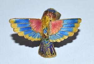 Figural Hummingbird Multi Color Guilloche Champleve Enamel Lamp Finial