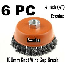 """New listing 6 x 4"""" Twist Cup Wire Brush 5/8"""" Twisted Fits Most 4-1/2"""" Angle grinder Hoteche"""
