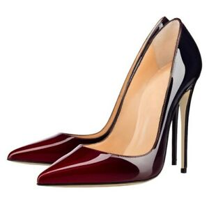 Women High Heels Slip-on Pointed Toe Stiletto Pumps Patent Leather Party Shoes
