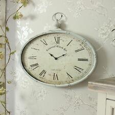 Crema in metallo verniciato Orologio da taschino orologio da parete stile shabby Chic Francese Casa Regalo