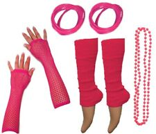 NEON 80s FANCY DRESS HEN PARTY COSTUMES SET Gloves Leg Warmers Necklace For Tutu