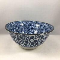 "2 PCS. 6"" Japanese Porcelain Rice Soup Bowl Blue Kosome Karakusa, Made in Japan"