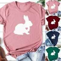Casual Easter Bunnies Print T Shirt For Womens Short Sleeve Tops Tees Blouse