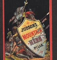 Judsons Mountain Herb Pills Cure Morristown Remedy Crusader War Advertising Card
