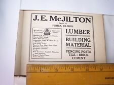 1917 J.E. McJILTON LUMBER BUILDING MATERIALS Print Ad Lot 213 FISHER ILLINOIS