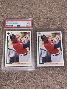 Two 1991 Upper Deck #SP1 Michael Jordan RC PSA 9 MINT and Raw White Sox Bulls