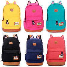 Girl's Cute Cat Ear Cartoon Canvas Backpack Stachel Rucksack Shoulder School Bag
