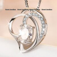 Gifts For Her - Silver Heart Diamond Necklace Sister Mother Daughter Women Xmas