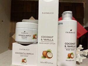 Farmasi Coconut & Vanilla Set. Body Wash ,Body Scrub & Body Lotion SET